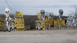 Appalachia Resist! blockades the Ginsburg Injection Well on Ladd Ridge Rd. in Athens, County Ohio. November 19, 2012