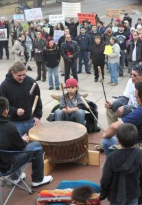 Native drummers perform at the start of a demonstration Monday by Keystone XL pipeline opponents. The pipeline would transport tar sands oil from Canada to the Gulf of Mexico.