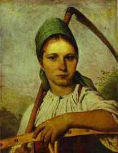 c1825 painting - Peasant women with scythe and rake - by Venetsanov - Russia - 778