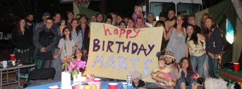 Everglades Earth First! and friends sing happy birthday to Marie at the Monkeywrench Cafe in Lake Worth, Jan 27, 2013