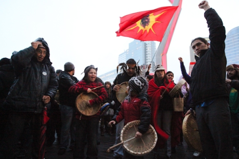 Thousands have attended round dances and rallies, like this one in Vancouver, B.C., in the month since Idle No More hit the political scene.   (Photo by David P. Ball)