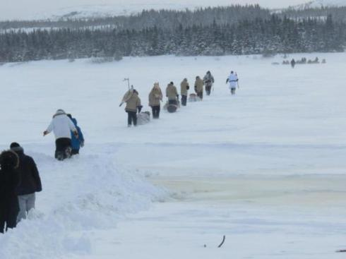 Cree youth journey 900 miles by snowshoe from Hudson Bay to Ottawa in support of Idle No More. [Photo from Facebook]