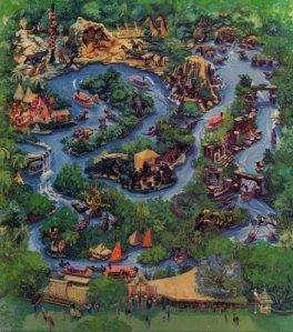 A map of the rugged Jungle Cruise terrain, home to a  bunch of scary but fake shit.