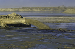 Syncrude Operations effluent pipe and tailings, Alberta, Canada