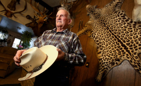Terry Penrod's jaguar pelt decorates his living room in Lakeside. He shot the animal in 1963, thinking it was a big bobcat. But his kill turned out to be the nation's last known female jaguar, giving rise to a controversy over critical habitat that goes on today.