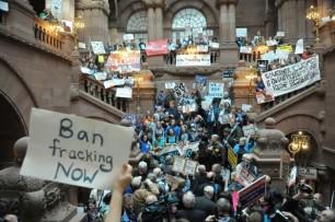 Fracking opponents protest legislative budget hearing Monday, February 4th, 2013.