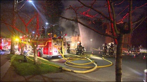 The Seattle Fire Department responds to a fire at an under-construction townhouse Feb. 26 in the Central District.
