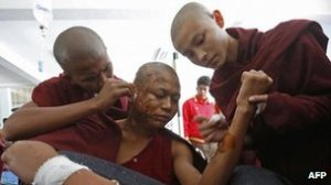 Monks were among those injured in the protest