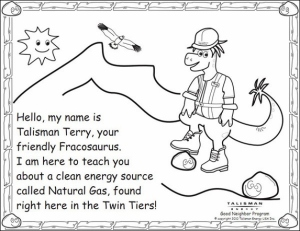 Elsewhere: Talisman Energy has publish a 24-page coloring book for kids explaining the merits of shale gas extraction. Talisman is hoping to 'educate' kids on the fun and exciting world of fracking by introducing them to 'Talisman Terry, your friendly Fracosaurus'.
