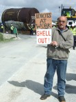 Local anti-Shell campaigner Terence Conway standing in front of the stuck tunnel boring machine, 2012.