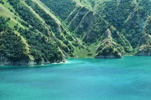 Lake Kezenoy-am (Lake Goluboye, Russian: Кезенойам, Голубое; Chechen: Къоьзаной-Iaм) is a lake in Chechnya near border with Dagestan, Russia that goes through Andiyskiy Khrebet (Andian Ridge); later the border of Dagestan went into Chechnya taking half of the lake in to Dagestan. It is situated at an altitude of 1870 m above sea level and fills and area of 2.4 km². The maximum depth of the lake is 74 m. In winter the surface of the lake freezes and in summer the water temperature is around 5 °C. The lake water has a year-round supply of oxygen in which plankton survive. Salmo ezenami, a rare species of trout, are native only to the lake; however their population is threatened with extinction due to the introduction of European chubs (Squalius cephalus) which consume the fry of the Salmo