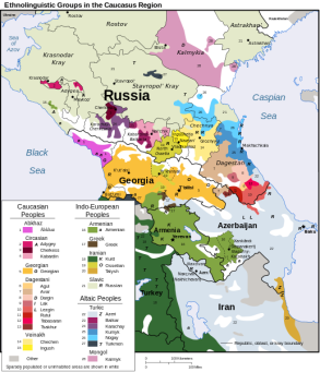 A map depicting the diversity in Ethno-Linguistic groups in the Caucasus region. Check out this link for a list of tribal unions and clans in Chechnya.