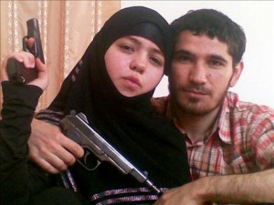 Pictured on the left is Dzhennet Abdurakhmanova, suspected of being one of the two female suicide bombers in the Moscow metro attack in March 2010. Pictured on the left is her husband, Umalat Magomedo, a Chechen rebel killed by Russian forces in December 2009. Authorities believe the wife staged the attack in revenge for her husband's death.