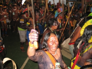 Kayapo Dancers vow to defend their territory from Brazil's plans for the Belo Monte Dam in 2008