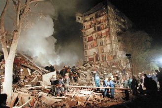 Ivan Sekretarev/AP Images A destroyed apartment building at the site of one of the Moscow bombings, September 9, 1999