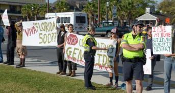 Anti-Viva 500 protests, St. Augustine, April 3 2013.