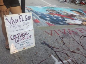 A blood-splattered Ponce painting from Lake Worth. Read the sad over-paid artist's whining here.