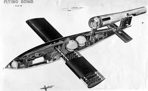 Cutaway drawing of a V-1 flying bomb showing fuel cells, warhead and other equipment.