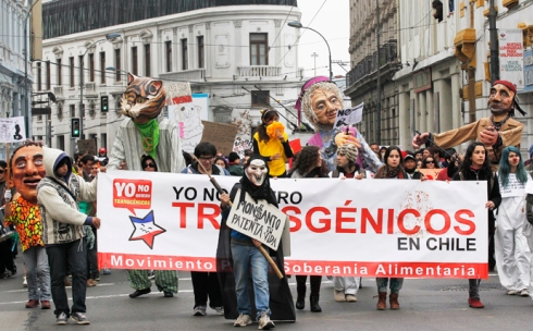 Demonstrators hold banners during a rally against Monsanto Co. and GMOs, in Valparaiso