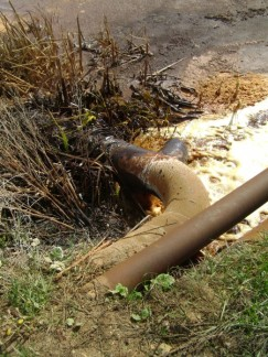 Orange chemicals flowing into a pond near Chusovaya from a burst pipe. Photograph from Chernogubov's blog.