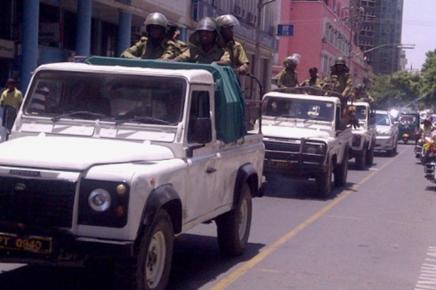 Police are dispatched to patrol the streets of Dar es Salaam on Thursday (May 23rd) after violence erupted in Mtwara over the construction of a gas pipeline. [Deodatus Balile/Sabahi]