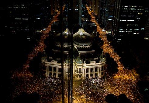 Protesters fill the streets of Rio de Janeiro.