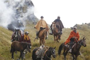 Local indigenous farmers on horseback form part of a protest against the Minas Conga gold mine, June 17, 2013