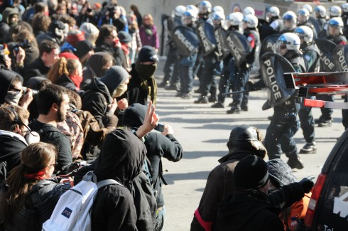 Many students chose to conceal their identities during recent protests in Montreal (photo: