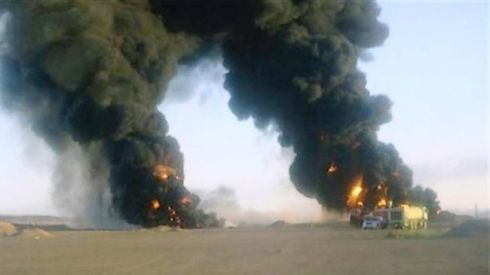 Smoke rises over a recent pipeline attack in Marib governorate, a tribal region in Yemen.