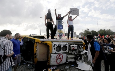 A barricade in Taksim Square, Istanbul, Turkey