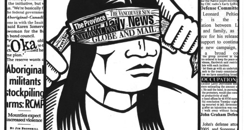 Image by Gord Hill (Coast Salish), author of the graphic novel 500 Years of Resistance. Taken from Alarm Press article by Summer Block.