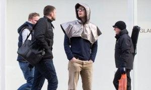 Anti-drone hoodie worn by Tom Meltzer
