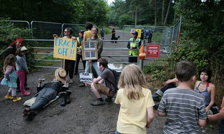 Protesters block the entrance to the fracking site near Balcombe