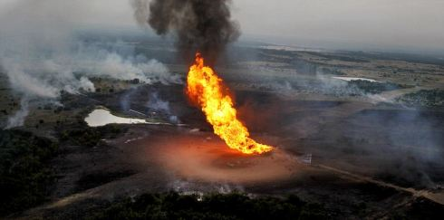 Photos of the Illinois explosion have not been released; the above photo is of a Texas pipeline explosion in 2010