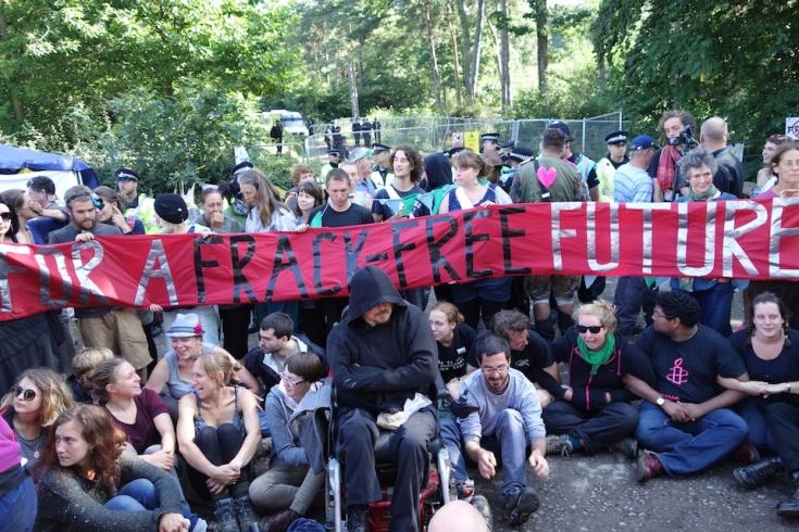 Blockade outside Cuadrilla fracking site in Balcombe