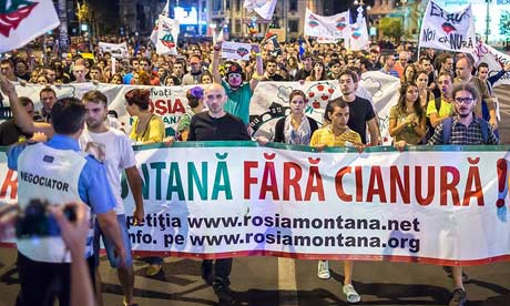 Romanians protesting in capital Bucharest